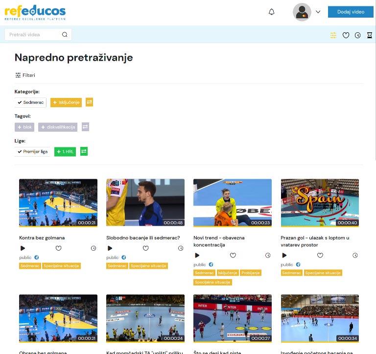 Napredno pretraživanje sa mogućnošću filtriranja po kategorijama, tagovima ili ligama